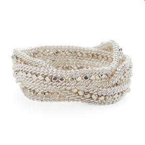 Nakamol Silver Beaded Wrap Bracelet